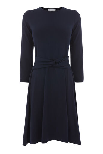 Warehouse, LONG SLEEVE TWIST BELT DRESS Navy 0