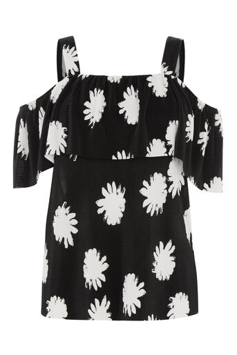Warehouse, FLOWER STAMP OVERLAY TOP Black Pattern 0