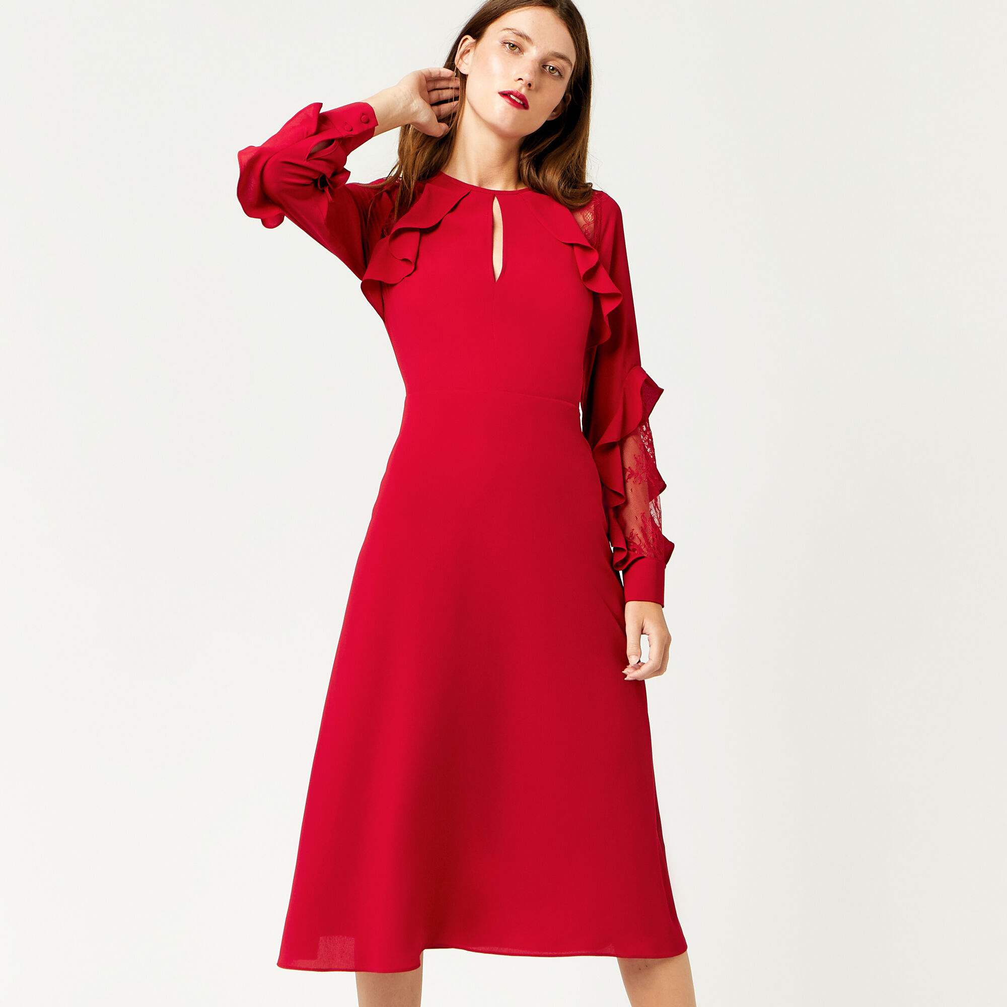 Warehouse, RUFFLE LACE INSERT MIDI DRESS Bright Red 1