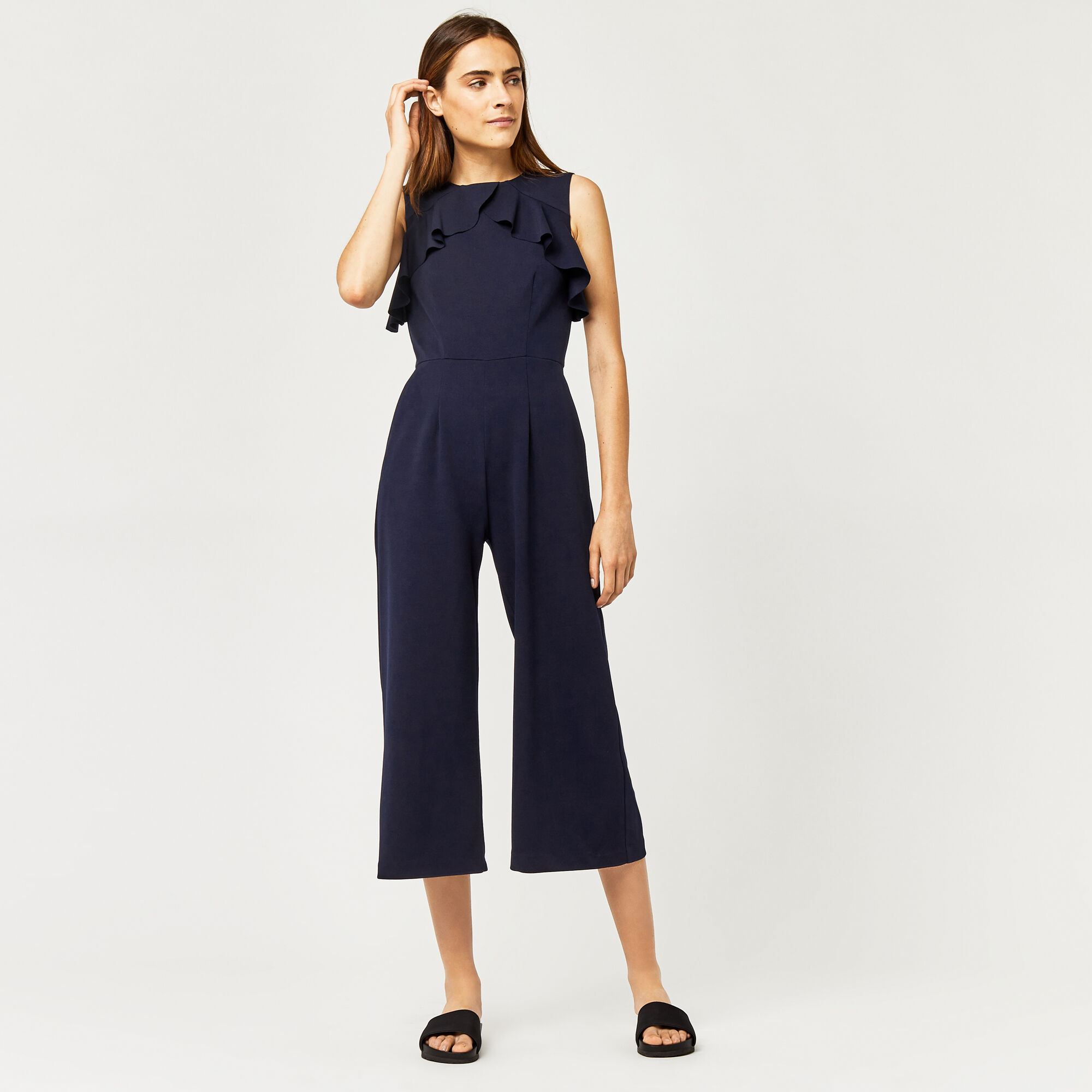 Warehouse, CREPE OPEN BACK FRILL JUMPSUIT Navy 1