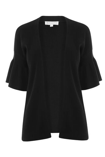 Warehouse, FRILL SLEEVE CARDI Black 0