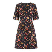 Warehouse, PAINTED FLORAL PONTE DRESS Multi 0
