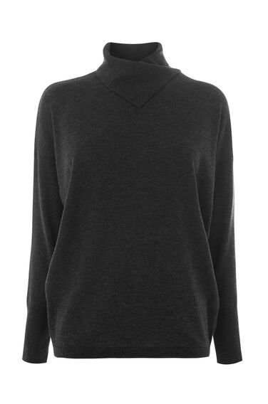 Warehouse, SPLIT HIGH NECK BATWING JUMPER Dark Grey 0