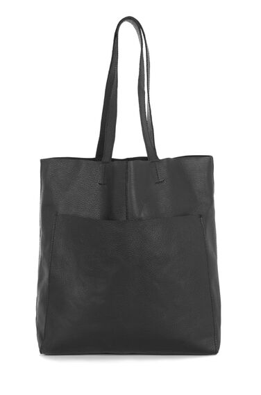 Warehouse, LEATHER POCKET SHOPPER BAG Black 0