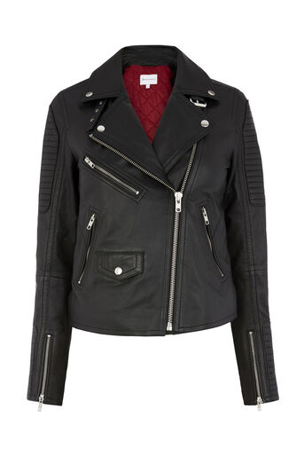 Warehouse, QUILTED LEATHER BIKER JACKET Black 0