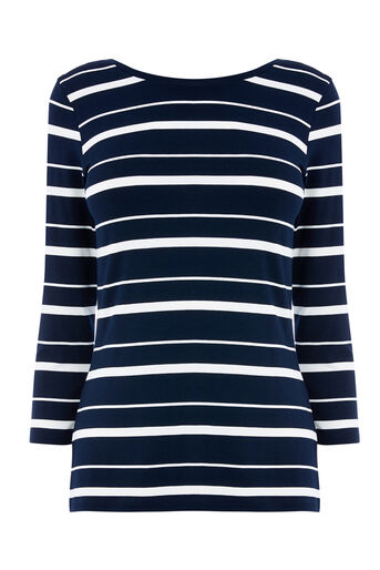 Warehouse, STRIPE SCOOP BACK TOP Blue Stripe 0