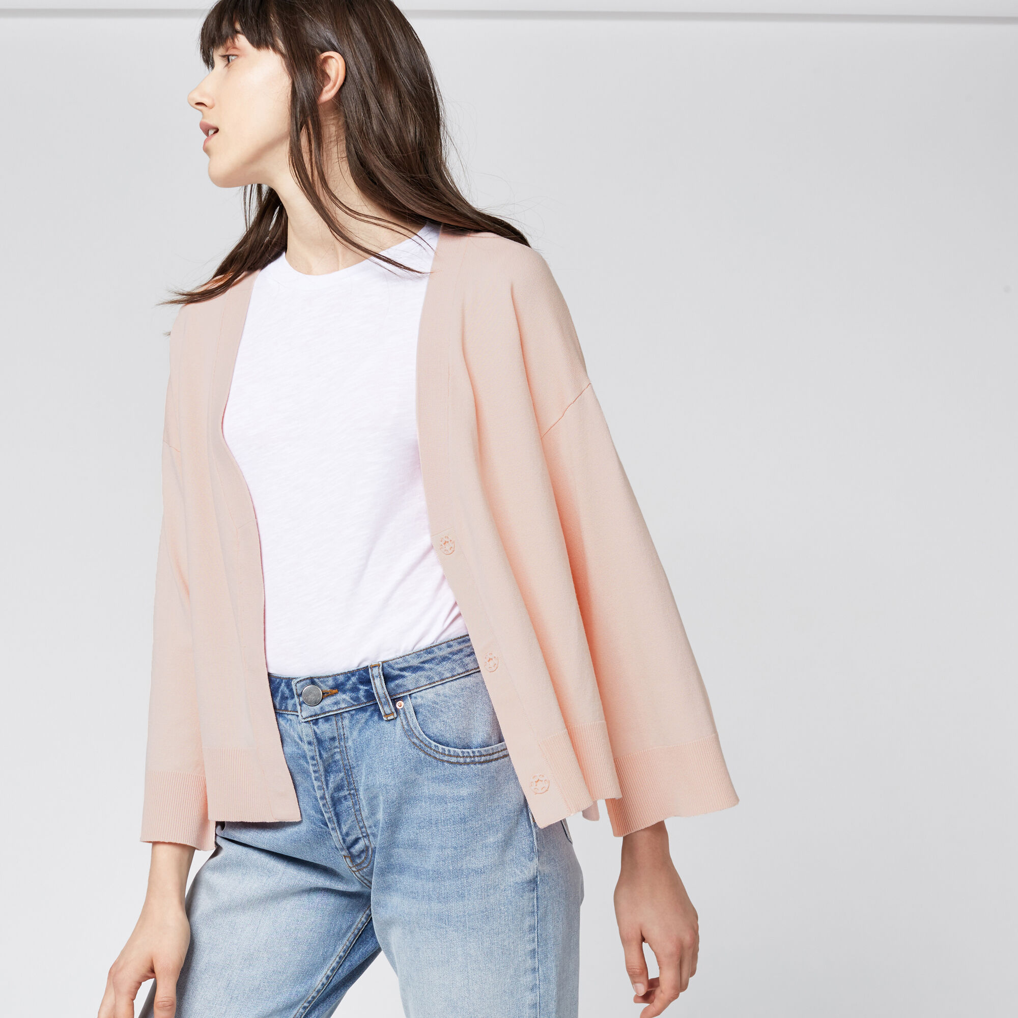 Warehouse, SPLIT CUFF POPPER CARDI Light Pink 1