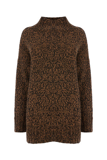Warehouse, TWEEDY FUNNEL NECK JUMPER Camel 0