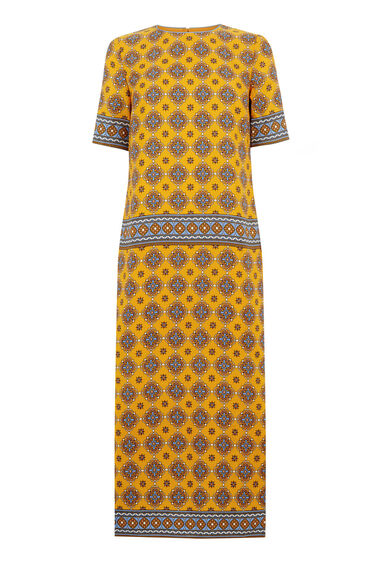 Warehouse, TILE PRINT COLUMN MIDI DRESS Mustard 0