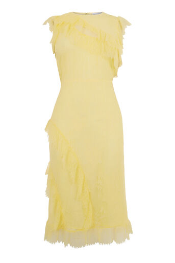 Warehouse, EYELASH FRILL DRESS Lemon 0