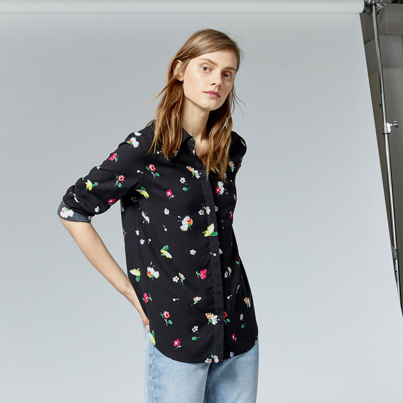 Warehouse, WOODSTOCK FLORAL SHIRT Black Pattern 1