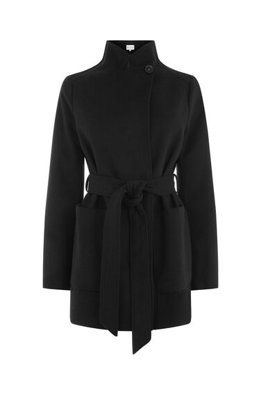 Warehouse, Short Asymmetric Coat Black 0