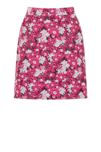 Warehouse, ASTER JACQUARD FLORAL SKIRT Pink Pattern 0