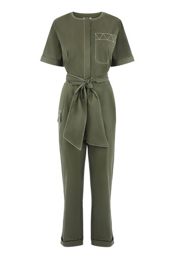Warehouse, TOPSTITCH JUMPSUIT Khaki 0