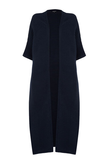 Warehouse, RIBBED COCOON MAXI CARDI Navy 0
