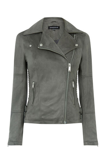 Warehouse, Suedette Biker Jacket Dark Grey 0
