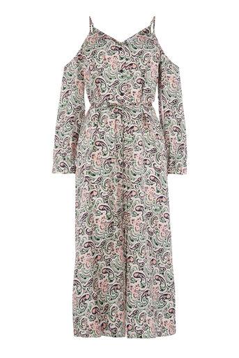 Warehouse, WOODBLOCK PAISLEY SILK DRESS Green Print 0