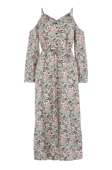 Warehouse, WOODBLOCK PAISLEY SILK DRESS Green Print 0