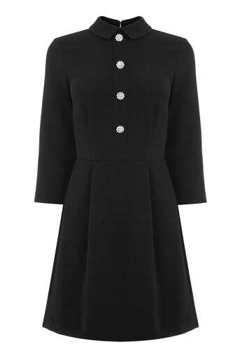 Warehouse, DIAMANTE BUTTON DRESS Black 0