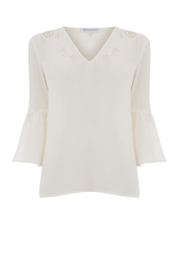 Warehouse, CUTWORK EMBROIDERED TOP Cream 0