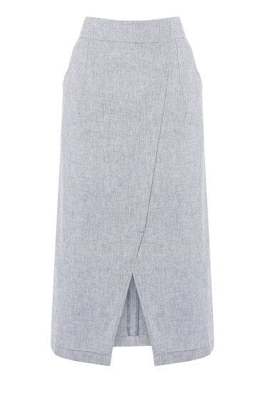 Warehouse, Linen Wrap Midi Skirt Light Blue 0