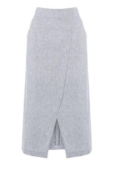 Warehouse, Linen Wrap Midi Skirt Light Blue 0