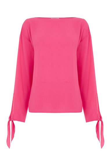 Warehouse, TIE SLEEVE TOP Bright Pink 0
