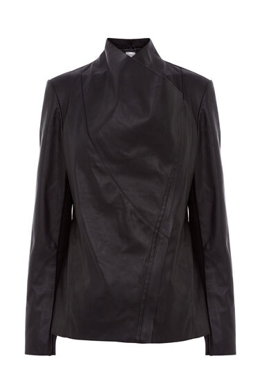Warehouse, Faux Leather Cowl Drape Jacket Black 0