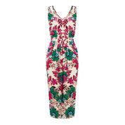 Warehouse, Floral Wrap Midi Dress Neutral  Print 0