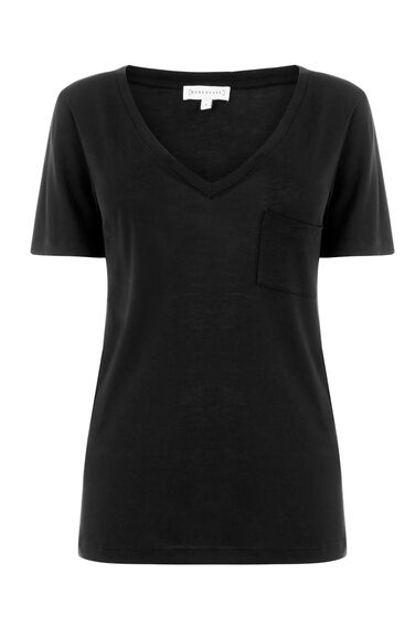 Warehouse, V NECK TEE Black 0