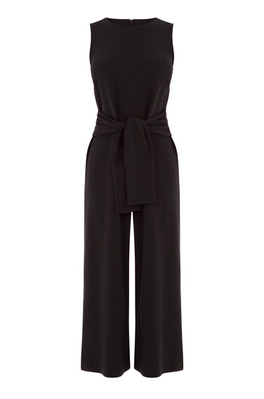 Warehouse, TIE FRONT CREPE JUMPSUIT Black 0