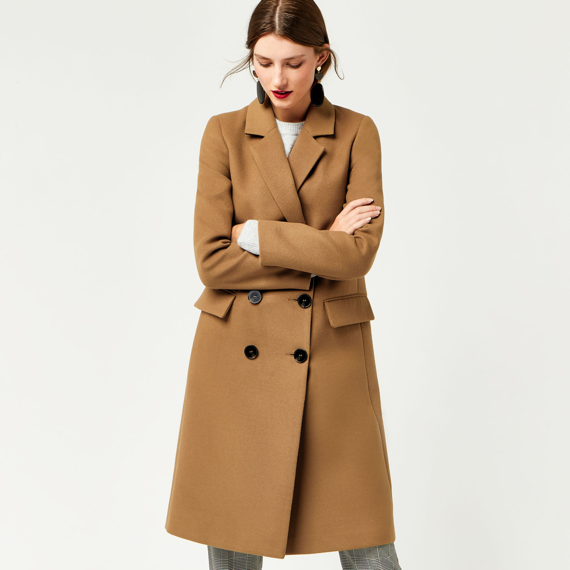 Warehouse, DOUBLE BREASTED CROMBIE COAT Camel 1