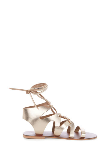 Warehouse, LEATHER GLADIATOR SANDAL Gold Colour 0
