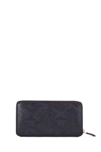 Warehouse, MONOGRAM SNAKE LEATHER WALLET Black Pattern 0