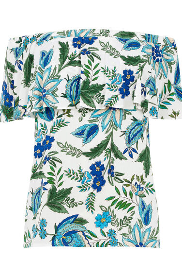 Warehouse, Botanical Off Shoulder Top Neutral  Print 0