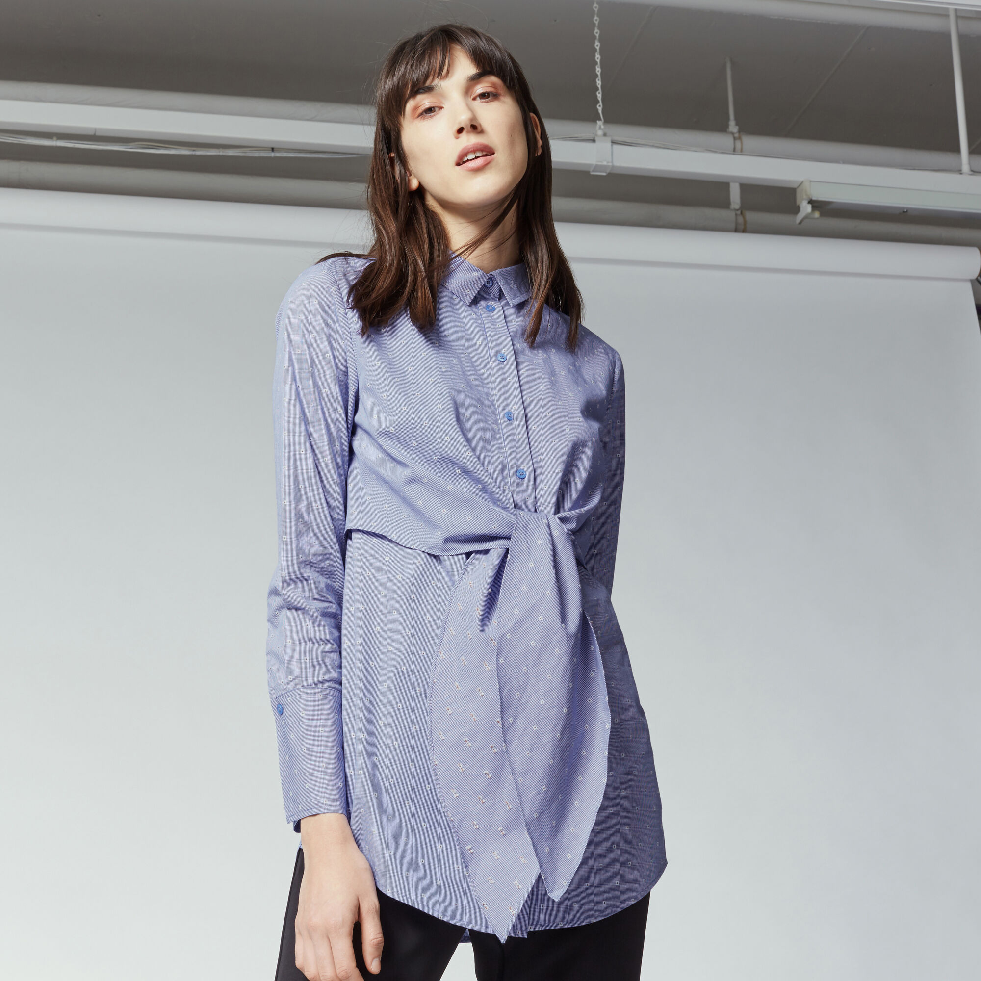Warehouse, TIE FRONT DOBBY SHIRT Blue Pattern 1