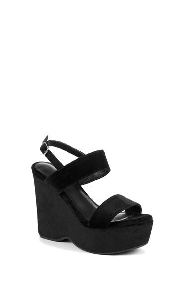 Warehouse, Platform Wedge Sandals Black 0
