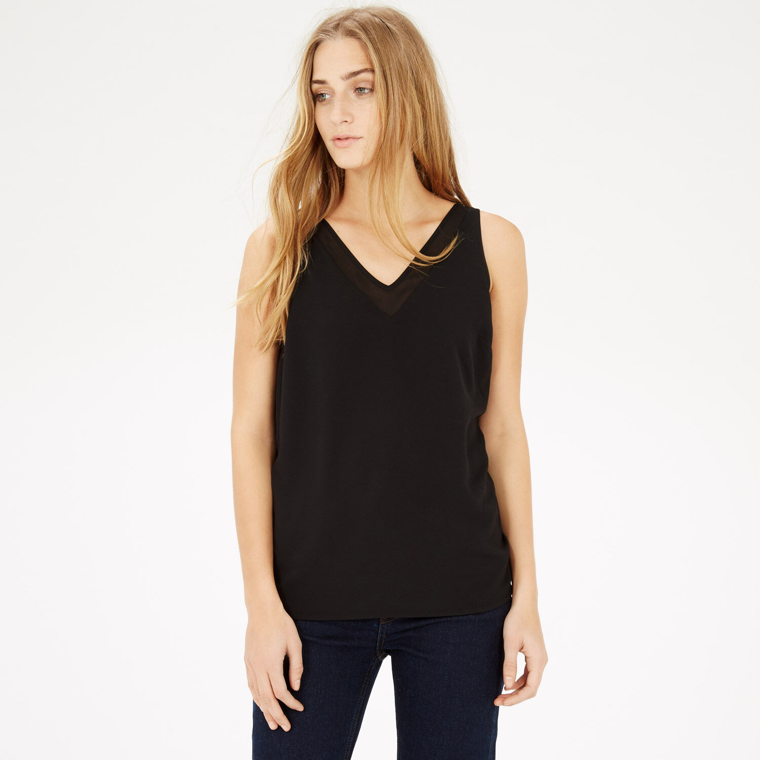 Warehouse, V NECK V BACK SHELL TOP Black 1