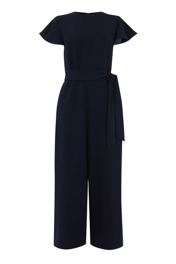 Warehouse, FRILL SLEEVE JUMPSUIT Navy 0