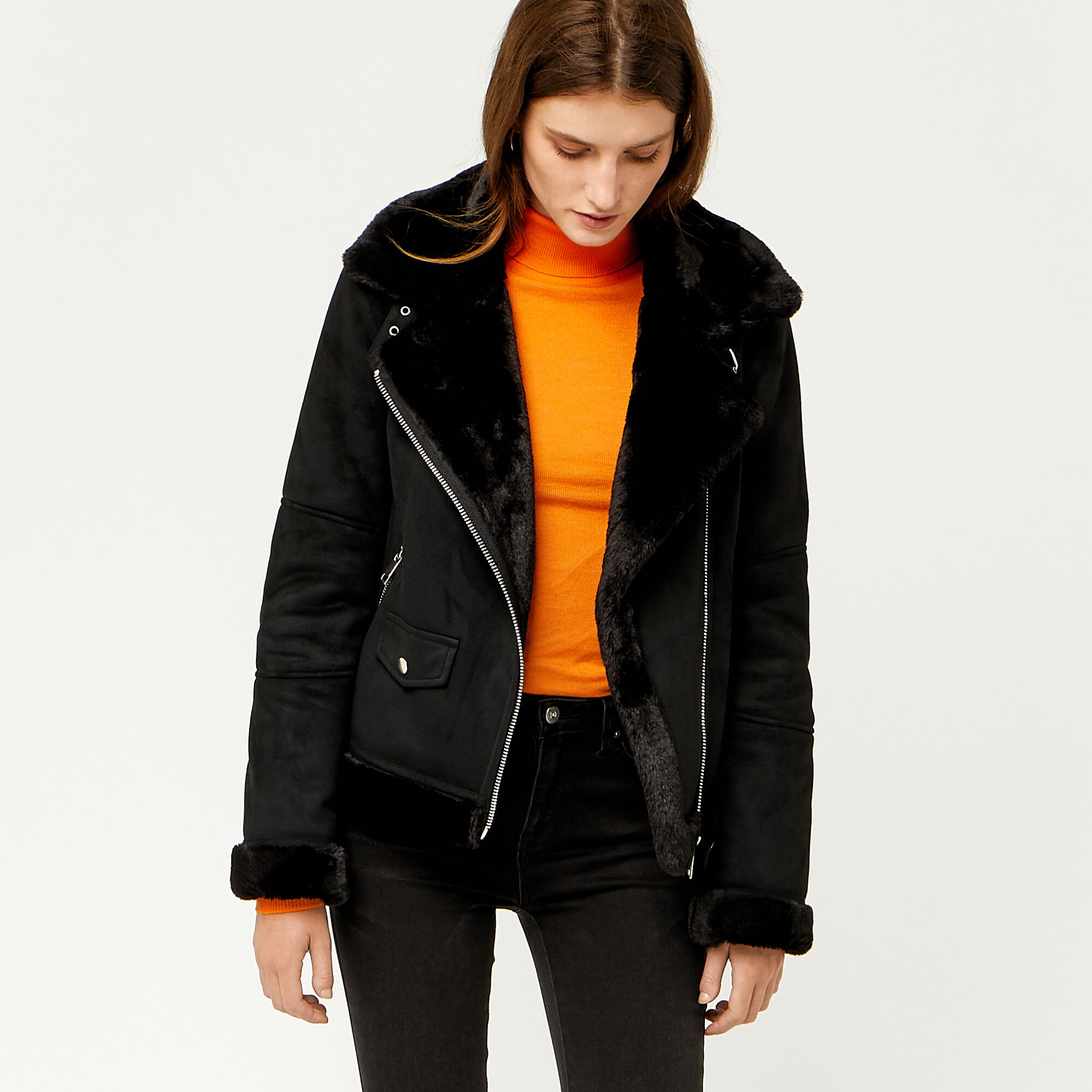 Warehouse, SUEDETTE BONDED BIKER JACKET Black 1