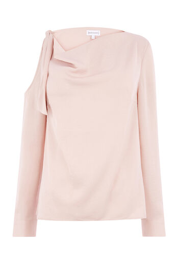 Warehouse, TIE SHOULDER COWL NECK TOP Light Pink 0