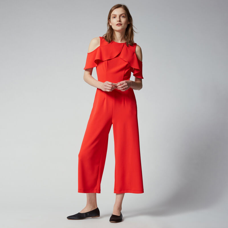 Warehouse, CREPE OVERLAY JUMPSUIT Light Red 1