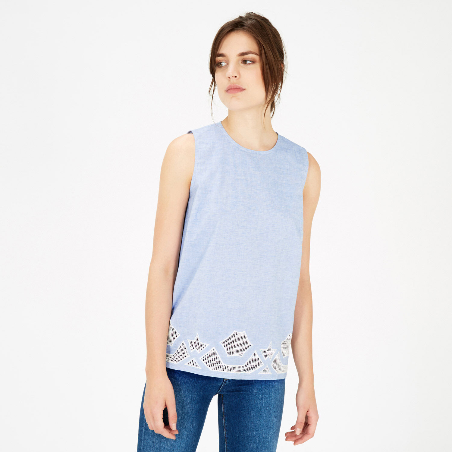 Warehouse, Chambray Cutwork Shell Top Light Blue 1