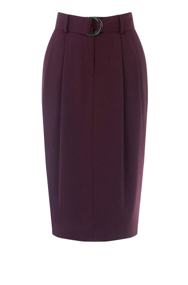 Warehouse, D-RING CREPE SKIRT Dark Red 0