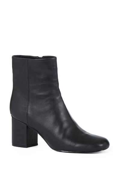 Warehouse, Square Toe Ankle Boot Black 1