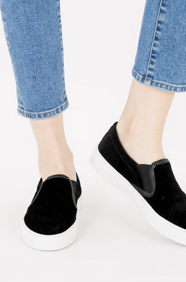 Warehouse, VELVET SLIP ON TRAINER Black 0