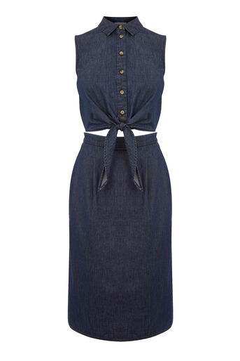 Warehouse, CUT OUT TIE FRONT MIDI DRESS Mid Wash Denim 0