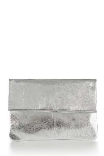 Warehouse, LEATHER FOLD OVER CLUTCH BAG Silver Colour 0