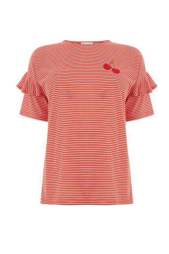 Warehouse, CHERRY EMBROIDERED STRIPE TEE Red Stripe 0