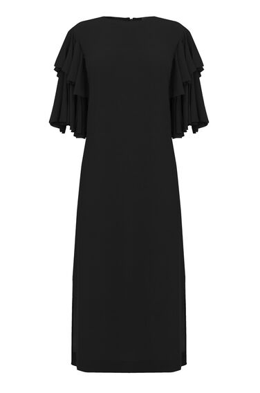 Warehouse, RUFFLE SLEEVE MIDI DRESS Black 0
